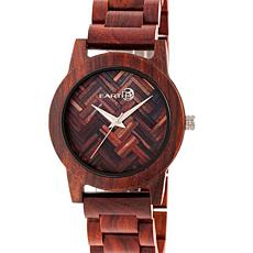 Earth Wood Crown Chevron Dial Red Wood Bracelet Watch