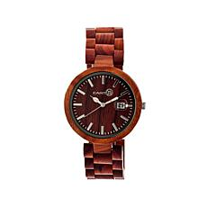 "Earth Wood ""Stomates""  Red Dial Wood Bracelet Watch"