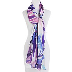 Echo Palm-Print Oblong Silk Scarf