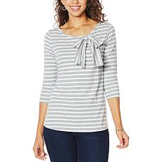 """Eden & Ivy """"Willow"""" 3/4-Sleeve Bow Tee"""