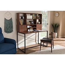 Edwin Wood and Metal 2-in-1 Bookcase Writing Desk