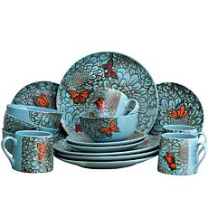 Elama Butterfly Garden 16-piece  Dinnerware Set