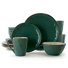 Elama Caribbean Tide 16 Piece Round Stoneware Dinnerware Set in Green