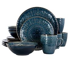 Elama Deepsea Mozaic 16 Piece Round Stoneware Dinnerware Set in Sea...