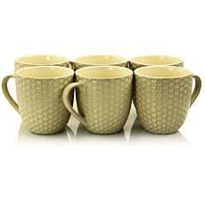 Elama Honeycomb 6 Piece 15 Ounce Round Stoneware Mug Set in Cream