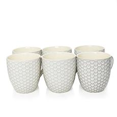 Elama Honeycomb 6-piece 15 oz. Mug Set - White