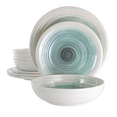 Elama Potters Wheel 12-Pc Lightweight Melamine Dinnerware Set - LT BLU