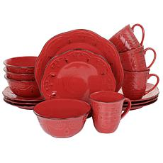 Elama Rustic Birch 16-Piece Stoneware Dinnerware Set in Red