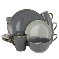 Elama Tahitian Grand 16-piece Dinnerware Set - Stone and Slate