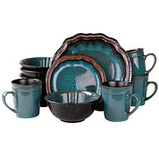 Elama's Mystic Waves 16-Piece Stoneware Dinnerware Set