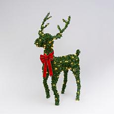 Electric Green PVC Reindeer w/Warm White LED Lights & Red Velvet Bow