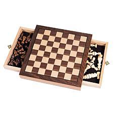 Elegant Inlaid Wood Cabinet with Staunton Wood Chessmen