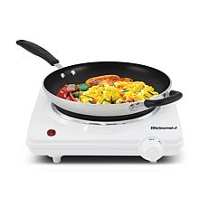 Elite Cuisine Single Cast Electric Burner Hot Plate - White