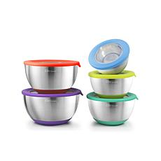 Elite Gourmet 10-piece Mixing Bowls with Clear Lids