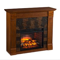 Elkmont Faux Stone Infrared Fireplace - Salem Antique Oak
