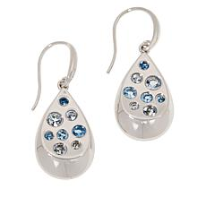 ELLE Sterling Silver Blue Topaz and Gemstone Teardrop Earrings