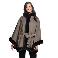 Ellen Tracy Luxurious Faux Fur Trimmed Cape w/Belt