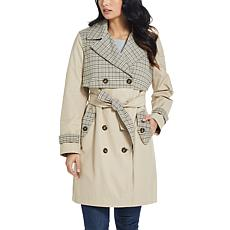 Ellen Tracy Modern Trench with Plaid Details