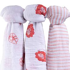 Ely's & Co. Cotton Muslin Swaddle Blanket 3-pack