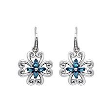 Elyse Ryan Sterling Silver London Blue Topaz Flower Drop Earrings