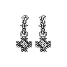 Elyse Ryan Sterling Silver White Topaz Cross Removable Drop Earrings