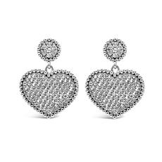 Elyse Ryan Sterling Silver White Topaz Heart Drop Earrings