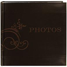 "Embroidered Scroll Brown-Leatherette 8""x8"" Photo Album"
