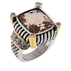 Emma Skye Stainless Steel Colored Glass and Crystal 2-Tone Ring