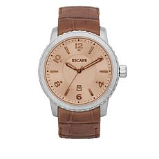 "ESCAPE Men's ""Atwood"" Stainless Steel Tan Croco Leather Strap Watch"