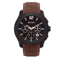 "ESCAPE Men's ""Camber"" Black Case Brown Leather Strap Chronograph Watch"