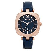 "ESCAPE Women's ""Coachella"" Rosetone Navy Leather Strap Watch"