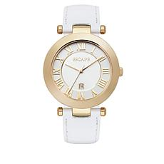 "ESCAPE Women's ""Serenity"" Goldtone White Leather Strap Watch"