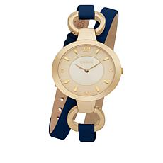 "ESCAPE Women's ""Soho"" Goldtone Blue Leather Wrap Watch"