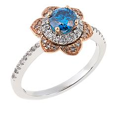 Ever Brilliant 0.77ctw Lab-Grown Blue and White Diamond Floral Ring
