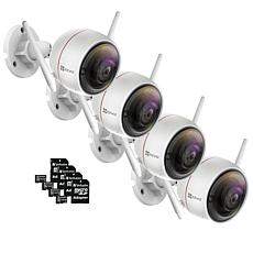 EZVIZ C3W (ezGuard) 4-pk 1080p HD Outdoor Wi-Fi Camera w/Memory Cards