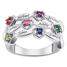 Family Name and Birthstone Heart Ring