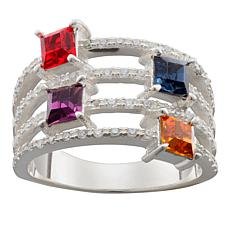 Family Square Birthstone Crystal and CZ 4-Row Band Ring