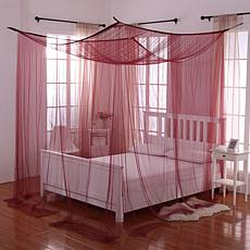 Fantasy 4-Post Bed Sheer Mosquito Net Panel Bed Canopy - Burgundy