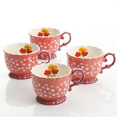 Farm Heart 4 Piece Set of 20 oz Footed Tea Cups in Coral Floral Design