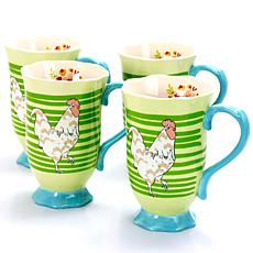 Farm Heart  4 Piece Set of14 oz Footed Tea Cup in Green Rooster Str...