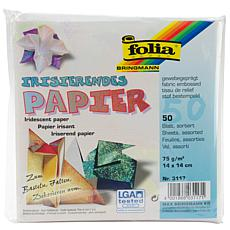 Folia Origami Paper Textured Iridescent 50pk - Fabric