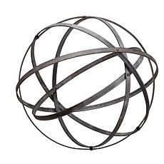 Foreside Home & Garden Large Distressed Black Metal Sphere Sculpture