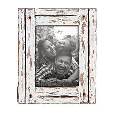 """Foreside Home & Garden White 5""""x7"""" Distressed Wood Picture Frame"""
