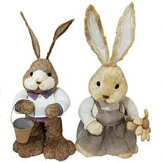 "Fraser Hill Farm 15"" Sisal Mr. & Mrs. Bunny Spring Easter Decoration"
