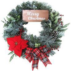 "Fraser Hill Farm 24"" Christmas Wreath with Poinsettia, Bow and Sign"
