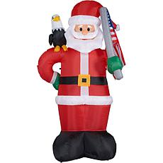 Fraser Hill Farm 8' Americana Santa w Eagle and Flag Lit Inflatable