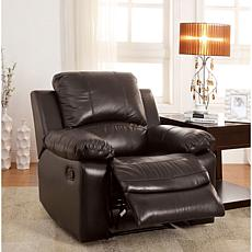 Furniture of America Dayo Top-Grain Leather Recliner - Rustic Dk Brown