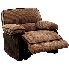 Furniture of America Kurtis Chenille Recliner - Brown & Dk Brown