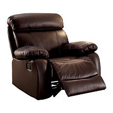 Surprising Furniture Of America Suzette Top Grain Leather Recliner Brown Pdpeps Interior Chair Design Pdpepsorg