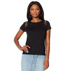 G by Giuliana Beaded Mesh Inset Tee